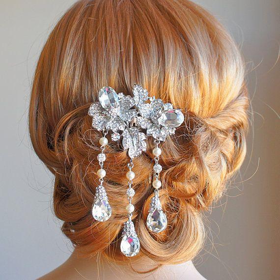 Bridal hair comb wedding hair accessories by glamorousbijoux