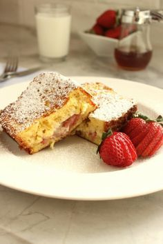 Roasted Strawberry and Mascarpone Stuffed French Toast