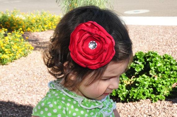 red flower hair clip $5