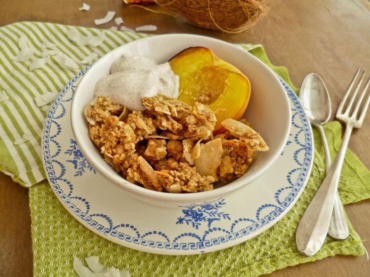 Coconut Granola with Roasted Peaches and Cinnamon Yogurt   Recipe
