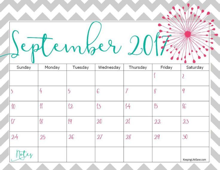 September 2017 Calendar Girly – September printable calendars