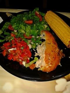 Roast chicken | corn cob | red pepper salsa. Great blog!