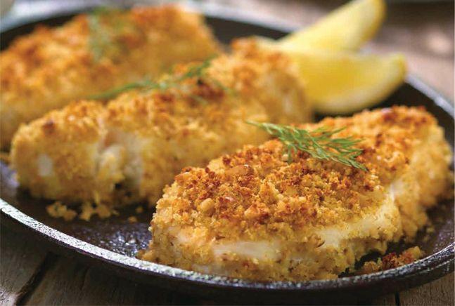 Walnut Crusted Chilean Sea Bass with Lemon Dill Sauce | Recipe