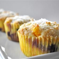 Mango blueberry muffins with coconut streusel....may have to try these