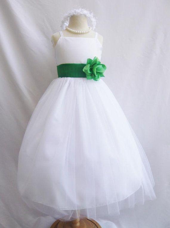 White And Emerald Green Flower Girl Dresses 24