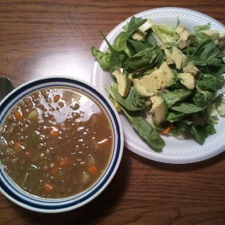 Lunch: Lentil soup with zucchini, carrots,celery and tomato. Also a ...
