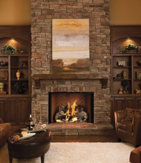 Stone Fireplace Wood Mantel Built Ins Living Room Project Pint