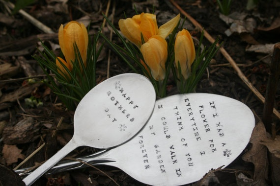 Vintage Spoon Garden Markers for Mother's Day by GloryBabiesA2Z, $18.00