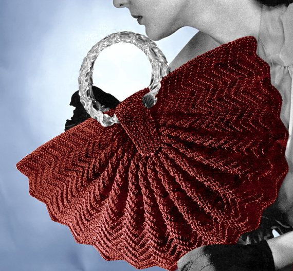 Vintage Crochet Pattern 1940s Half Moon Fan Purse Handbag Digital ...