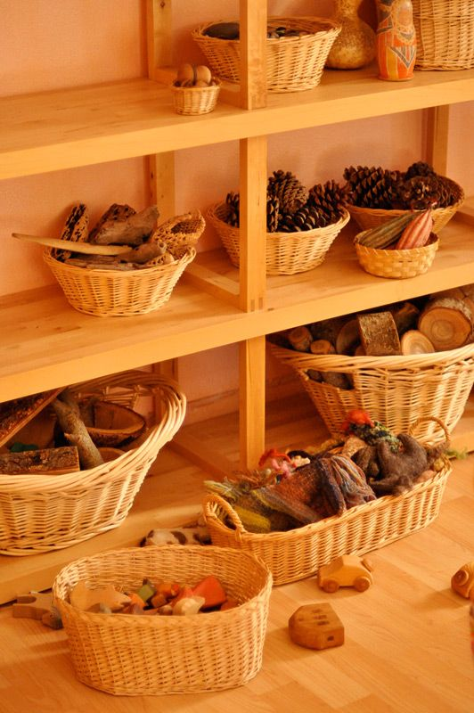 Natural materials in baskets preschool pinterest - Material waldorf ...