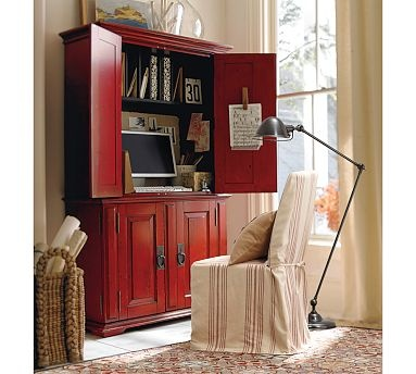 Campton Smart Technology™ Office Armoire - Desa Ming Red #potterybarn