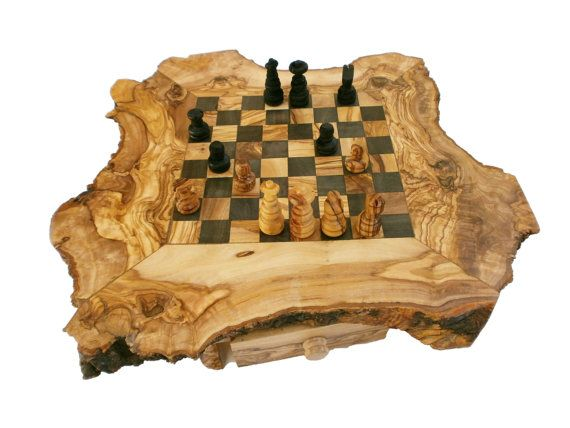 Olive Wood Personalized Rustic Unique Chess Board Set 14