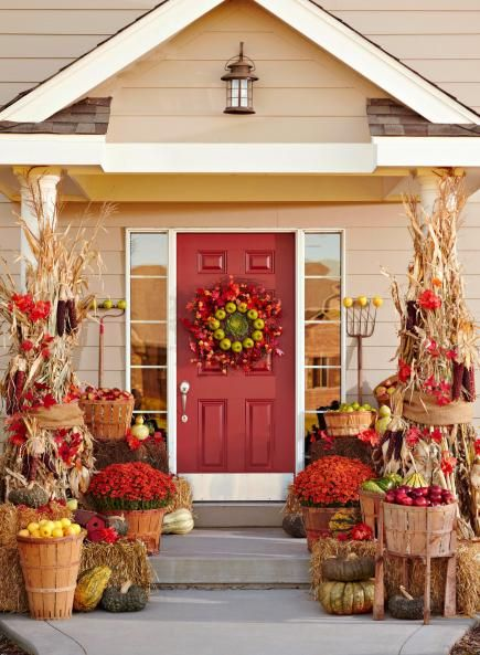 3 fun themes for fall door decorations Beautiful fall front porches