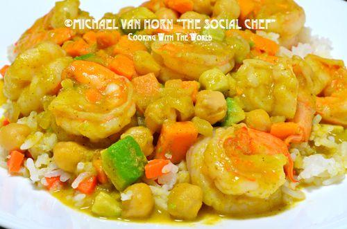 Curry Shrimp with Avocado, Sweet Potato and Garbanzo Beans