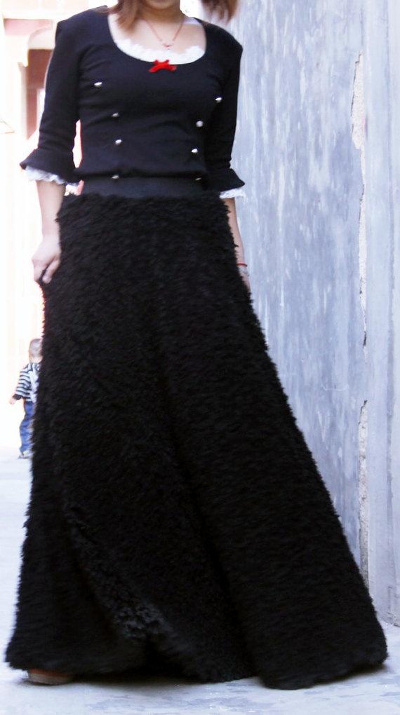 fur maxi skirt thick winter skirt black skirt faux