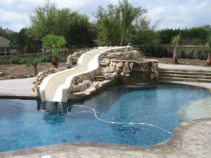 Pin by caroline mckoane on pool remodel ideas pinterest for Pool design with slide