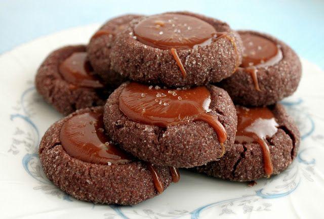 Chocolate salted caramel thumbprints via @Danae