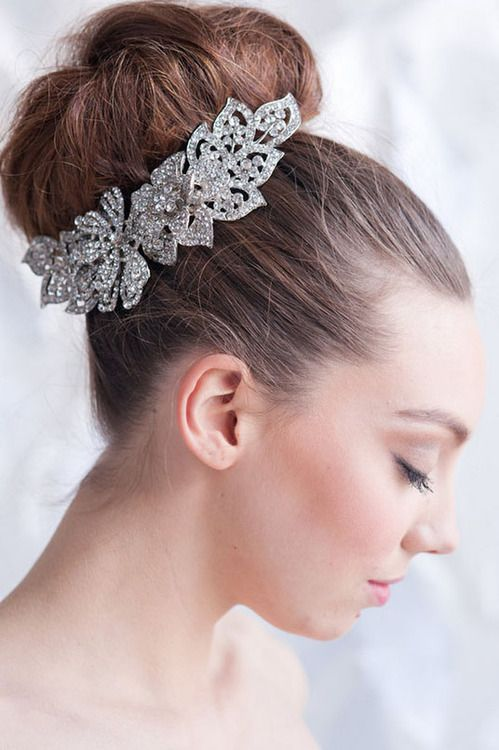 Bridal Hair Accessories For Buns : Bun with bling chic bridal hair accessories