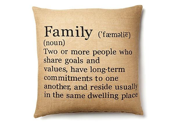 Family 20x20 Pillow, Natural/Black on OneKingsLane.com