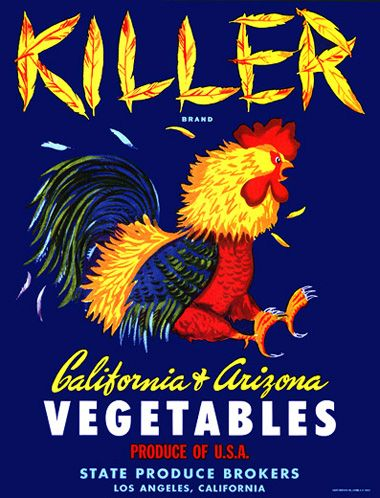 Vintage produce crate labels are now truly so wonderful as art. Could Not resist this one.....killer vegetables? Love it!  cratekiller.jpg