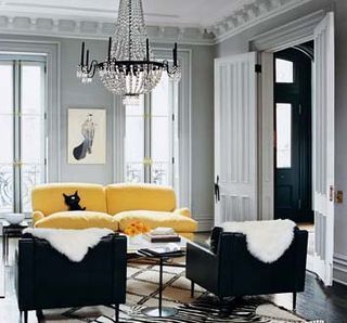 yellow sofa, fur throws, beni rug