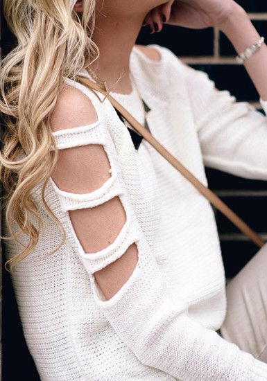White Cutout Sweater