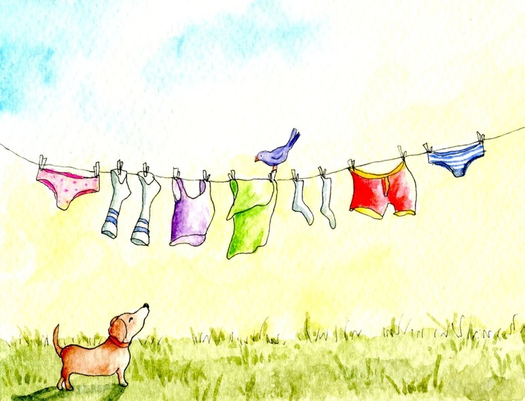 Dog, Bird, and the Clothesline - greeting card. $3,50, via Etsy.