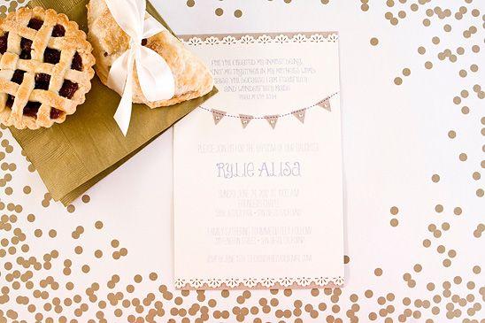 Gold and white reception invite