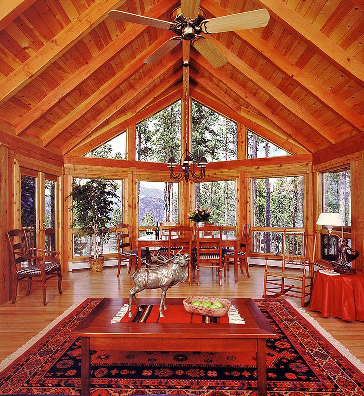 Log Home Great Room With Mountain Views Cabin Pinterest