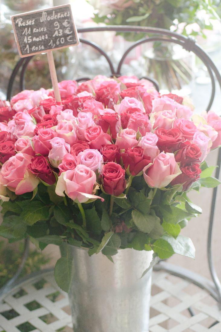 Roses in Parisian flower shop, Paris, France. Photo by © Georgianna Lane