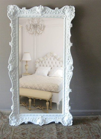 Large white floor mirror chez moi pinterest for Large white mirror
