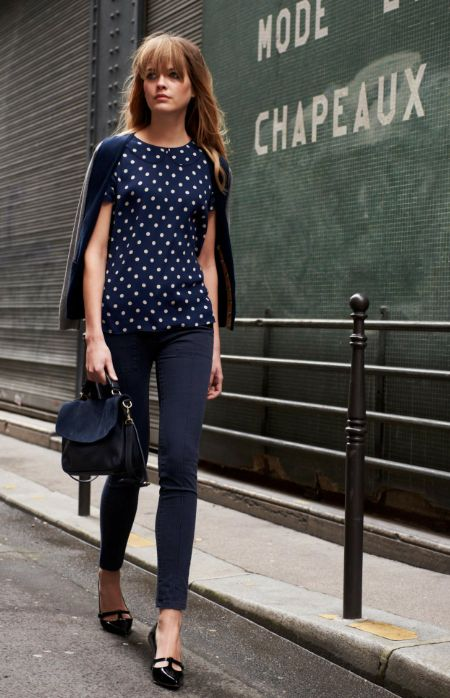 navy jacket with white polka dots