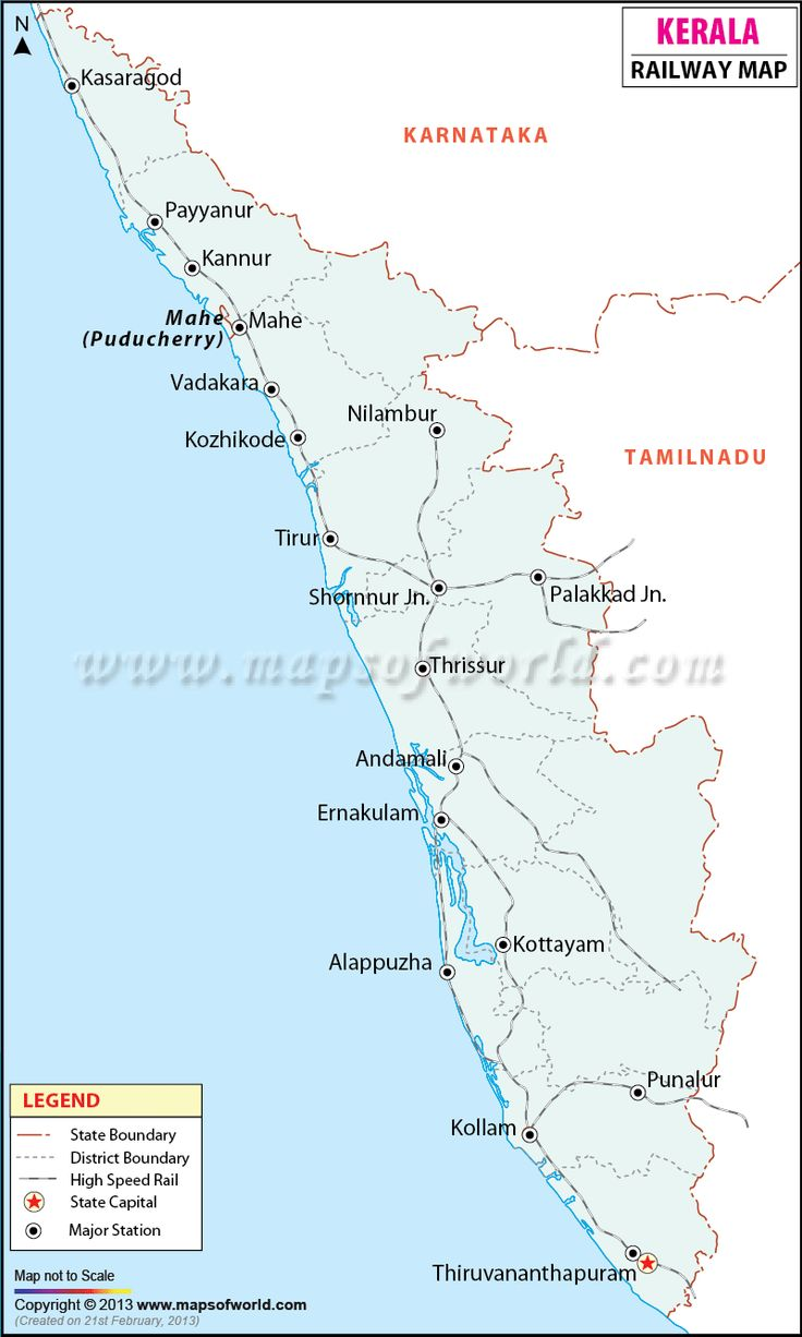 Kerala Railway Map | http://www.mapsofworld.com | Pinterest