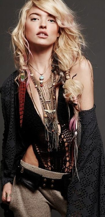 Layered necklaces boho chic style, modern hippie look. FOLLOW this board now http://www.pinterest.com/happygolicky/the-best-boho-chic-fashion-bohemian-jewelry-gypsy-/ for the BEST Bohemian fashion trends for 2015.