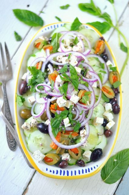 Cucumber Greek Salad with Herbed Feta, Olives, Red Onion and Fresh ...