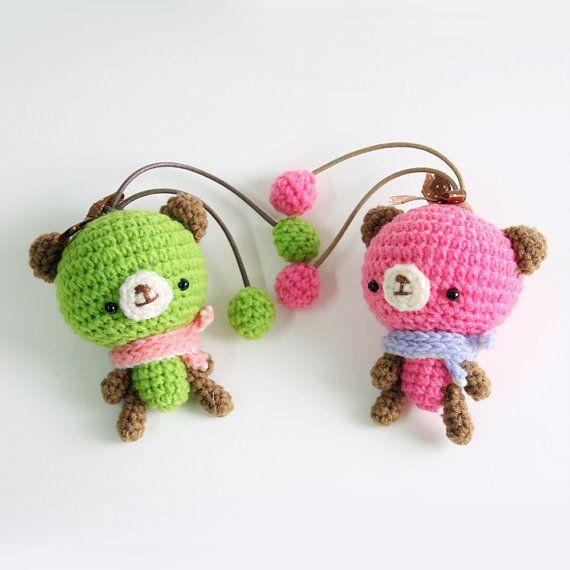 Amigurumi Pink Bear : Bear-Amigurumi Bear Handbag Dolls (Pink & Green)