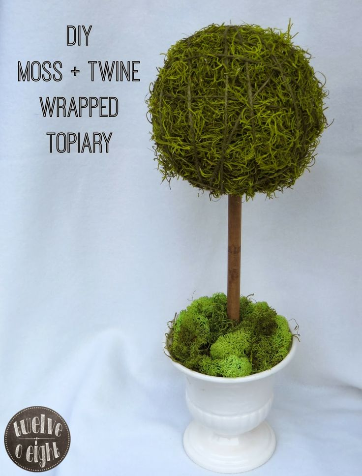 DIY Moss + Twine Wrapped Topiary by twelveOeight #topiary #topiarytree #diytopiary #diyhome #homedecor #craft