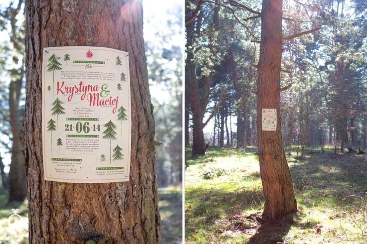 Forest and Scout wedding invitation for Krystyna & Maciej. / Designed by Calym Sercem.
