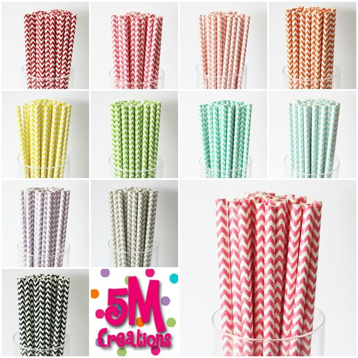 100 Chevron Striped PAPER STRAWS - 11colors to choose from - printable flag - vintage retro wedding bridal shower baby shower birthday party. $15.50, via Etsy.