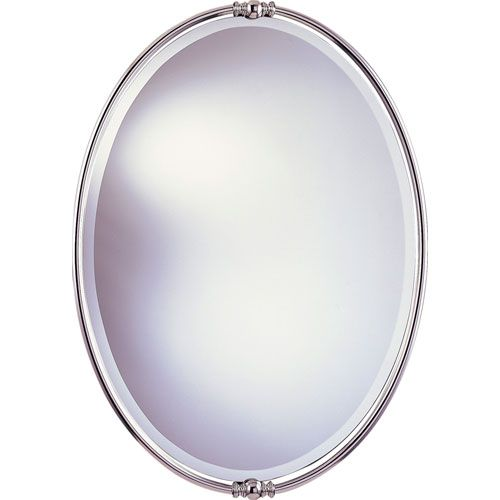 New London Polished Nickel Mirror Feiss Oval Mirrors Home Decor