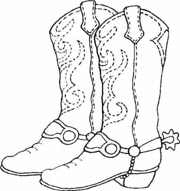 Coloring Sheet Cowboy Boots Digi Pinterest