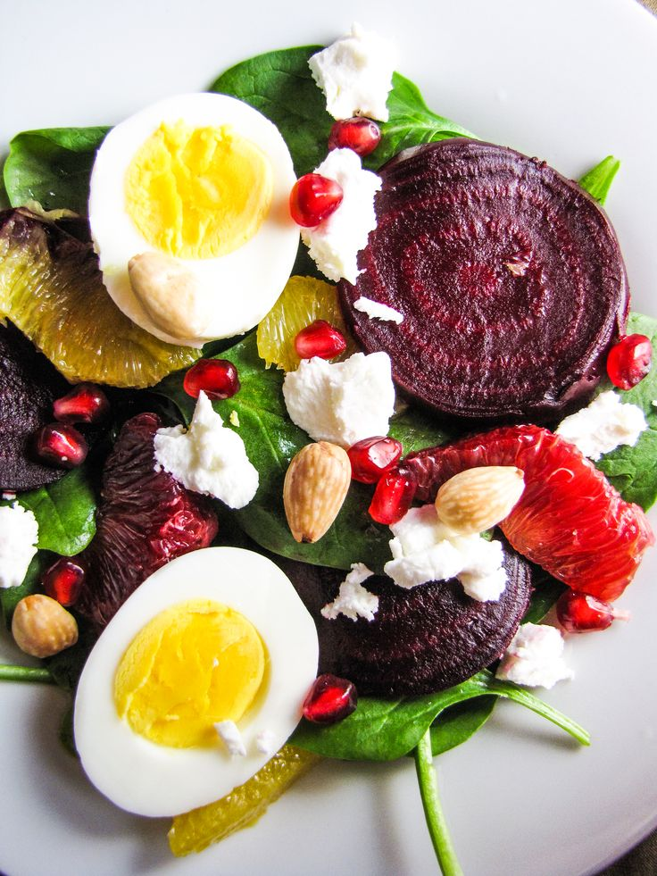 Beet and Spinach Salad with Goat Cheese, Eggs, Pomegranate, Orange ...