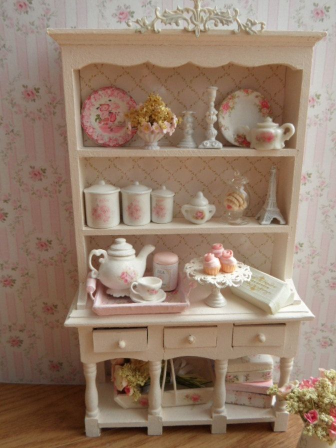 Dollhouse shabby chic kitchen hutch 112 scale by monaliszadesign #miniature