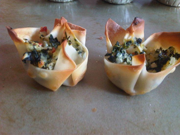 Warm Spinach & Artichoke Cups | food | Pinterest
