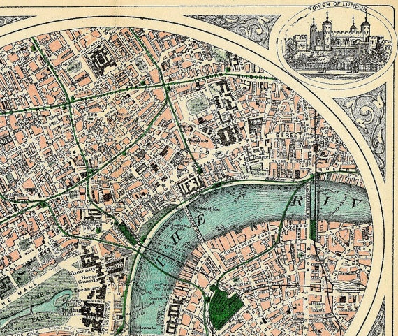 An early 20th century Edwardian map of London, rescued from a crumbling antique atlas, details the railway stations, green spaces, palaces and castles along the winding blue Thames River and adorned with illustrations of favourite travel destinations.
