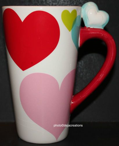 Heart Handle 16 oz Cup Mug Latte Coffee Valentine Love Red Pink Green ...