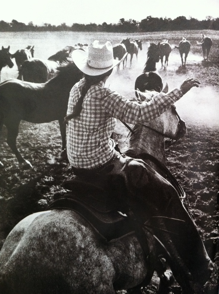 """""""If you get bucked off, get back on. Hold on and never let go. Get strong, grow up fast, don't be a sissy, trust your horse, brush you horse's back, water your horse, and don't be mean to your horse. Once a cowgirl, always a cowgirl."""" 8 year old working Cowgirl, c/o Texas Monthly article, 'Cowgirl Up.'  Photography by Leann Mueller"""