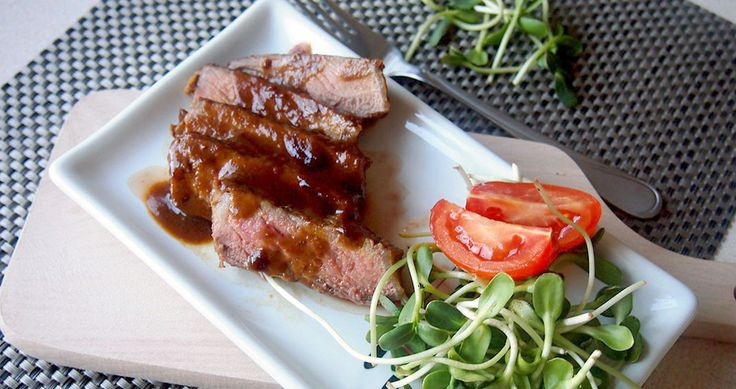 Roast beef steak with miso sauce and orange. (translated from Polish ...
