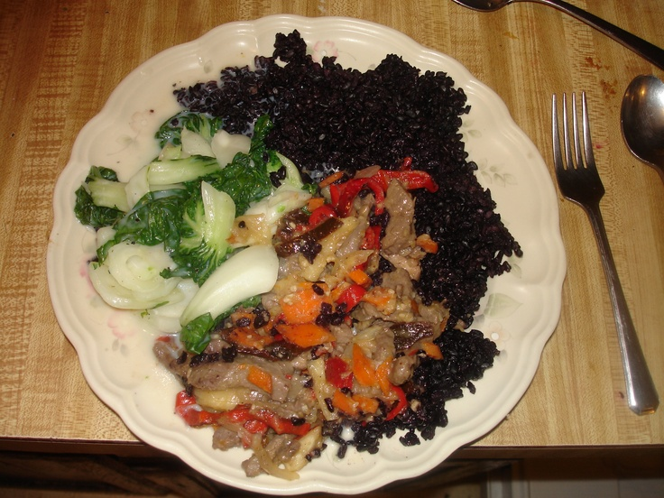Black rice, Stir fry and Baby Bok Choy. | Dinner Recipes | Pinterest