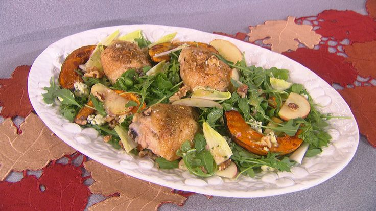 Fennel-Roasted Chicken and Winter Squash with Endive-Apple Salad ...
